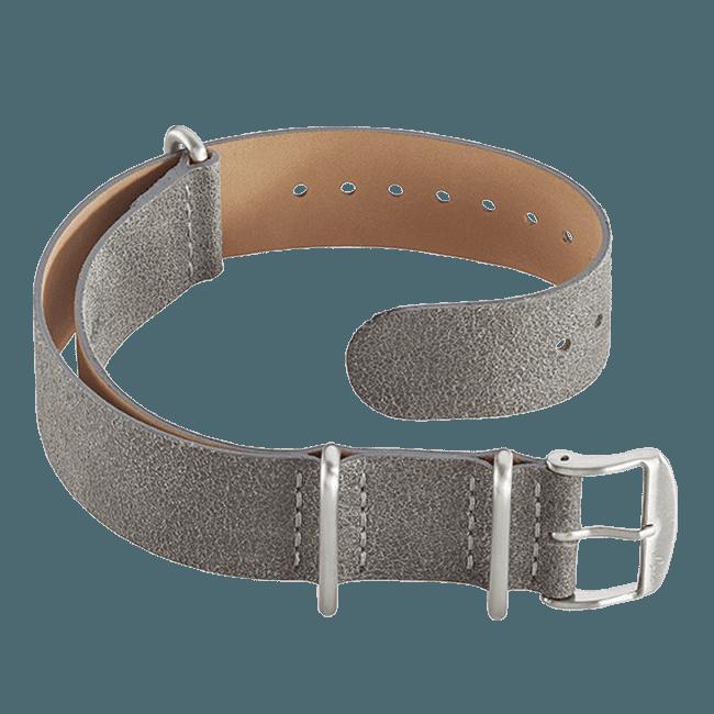 Durchziehband Leder Grau 20 mm
